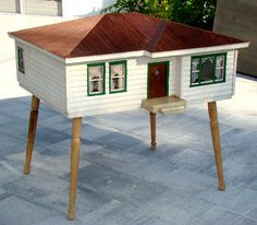 Huge!! Vintage Danish Modern 1950's Mid-century Handmade Wood Dollhouse / Eames