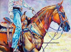 Original Cowgirl Oil Painting 18x24 western horse by mybunnies3, $300.00 Love the eagerness in the horse, ready to run...Awesome job on the details, what talent Sandra has.