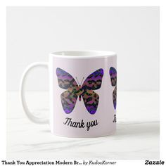 Thank You Appreciation Modern Bright Butterfly Coffee Mug #mugs #coffeemugs #thankyougifts #appreciationgifts #affiliate Words Of Appreciation, Teacher Appreciation Week, Teacher Gifts, Create Your Own, Create Yourself, Pastel Background, Butterfly Pattern, Personalized Mugs, Thank You Gifts