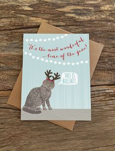 funny holiday cards / funny cat card / cat by ModernPrintedMatter