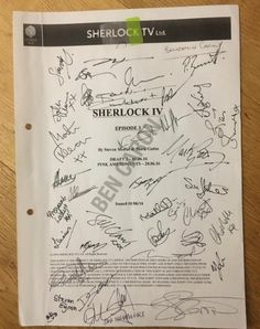 SHERLOCK S4 E3: The Final Problem. Script autographed by cast and crew. Photo via Benjamin Caron, director.