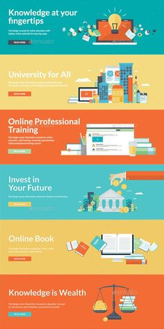 Buy Flat Design Style Concepts for Online Education by PureSolution on GraphicRiver. Set of 6 modern flat design illustration concepts for online education. Concepts for education, online training cours. Game Ui Design, Layout Design, Web Design, Flat Design Inspiration, Flat Design Poster, Flat Design Illustration, Illustration Art, Illustrations, Instructional Design