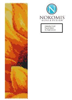 Helianthus' Gold- Peyote Stitch Bracelet Pattern Digital Download by NokomisBeadAndDesign on Etsy