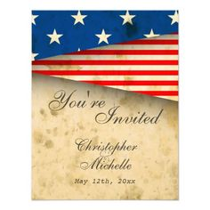 Custom Patriotic US Flag Vintage Style Wedding RSVP Cards created by HorseAndPony. This invitation design is available on many paper types and is completely custom printed. Mason Jar Wedding Invitations, Save The Date Invitations, Vintage Wedding Invitations, Personalized Invitations, Wedding Rsvp, Save The Date Cards, Wedding Cards, Wedding Ideas, Renewal Wedding