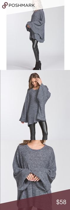 🆕Destiny Gray Oversized Balloon Sleeve Top New Boutique Item. The Destiny Top features an oversized boxy fit, round neck, long sleeve Poncho like style, drop shoulder, medium weight, and brushed thermal fabrication. This fabric has a very soft fuzzy texture, drapes very well and has great stretch! Oversized Slouchy sweater Poncho. MADE IN THE USA! Also available in burgundy! Material: 49% Poly, 49 % Rayon, 2% Spandex Color: Charcoal Gray ✖️NO Trades Tops