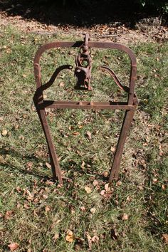 Vintage Hay Bale Carrier Barn Trolley Harpoon Fork With Pulley Cast Iron Farm Tool Farm Equipment Industrial Decor