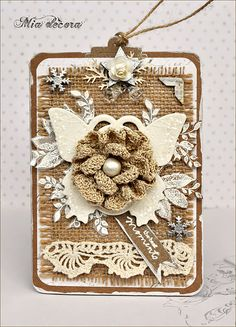 ♥ idea for my tattered angels chipboard - burlap tag