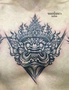 ยักษ์ Oni Tattoo, Khmer Tattoo, Sak Yant Tattoo, Demon Tattoo, Torso Tattoos, Hand Tattoos, Sleeve Tattoos, Bd Art, Sketchy Tattoo
