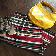 Jaclyn smith sport Striped maxi drawstring skirt s Americana/Fall colors. Side slit with draw string. So simple and cute. Size small. Jaclyn Smith Skirts Maxi