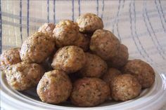 Microwave Meatballs - Fast and easy meatball recipe. (I have made meatballs in my microwave for over 30 years. Just shape them and cook them on a microwave safe plate for 2 to 3 minutes, depending on their size and the power of the oven, Turn and rearrange them once during the cooking. I cook about 20 small ones in a batch. They shrink much less, are moister and no sticking to the pan. These freeze beautifully. YS)