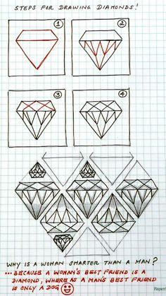 Diamonds zentangle pattern