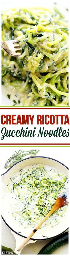 Creamy Ricotta Zucchini Noodles – Delicious zucchini noodles tossed in a creamy and garlicky ricotta cheese sauce. Easy, guilt free and vegetarian weeknight meal that takes minutes to prepare!