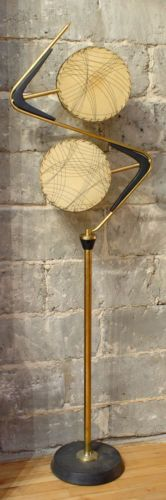 AMAZING-Vtg-1950s-Retro-Mcm-ATOMIC-Boomerang-Z-MAJESTIC-Floor-LAMP-w-Drum-SHADES