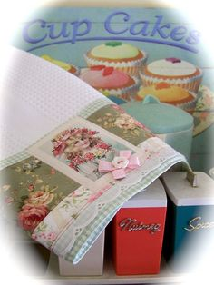 Cottage Romance and cupcakes.Such a gorgeous tea towel from www.decorativehomecrafts.com          by Created by Cath., via Flickr
