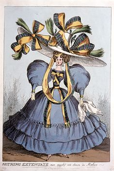 NOTHING EXTENUATE nor aught done in Malice. Caricature, English, 1827.   Historic Deerfield.   So the sleeves were only the beginning, & it's the hat that really steals the show....    Yay, satire!
