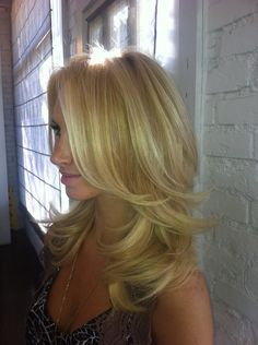 baby blonde hair color, long layers by denise.su