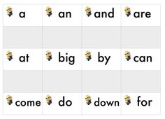 This is a pdf version of a set of 40 basic sight words with a minion theme. The last page includes eight blank cards for you to add your own additional words.