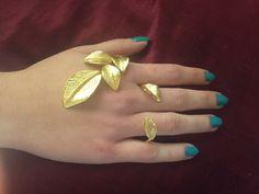 Three fingers beech leaves ring Cuff ring by UmmNiyatiJewelry