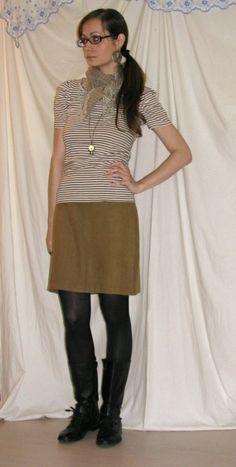 striped shirt, camel skirt, boots