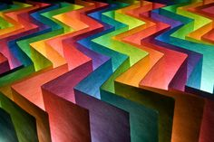 Love this rainbow of colors created by paper!