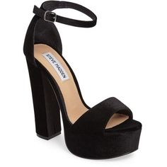 Women's Steve Madden Gonzo Platform Sandal (299.550 COP) ❤ liked on Polyvore featuring shoes, sandals, heels, black velvet, black sandals, high heel platform sandals, ankle wrap sandals, platform shoes and ankle strap platform sandals