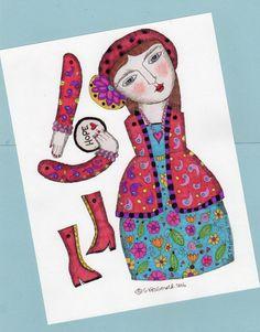 Digital download diy paper craft  paper doll  cake topper plant pot decoration  Bohemian girl Love her shoes!