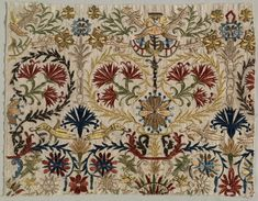 Fragment of an embrtoidered bed curtain. From Crete, Ottoman era, or century. Embroidery: silk on linen tabby ground, (Cleveland Museum of Art, Ohio). Embroidery Techniques, Embroidery Stitches, Embroidery Patterns, Folk Embroidery, Textile Fabrics, Textile Patterns, Fabric Embellishment, Bed Curtains, Cleveland Museum Of Art