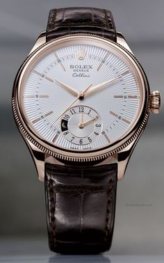 Rolex - Cellini Dual Time - everose gold silver guilloche dial with leather strap. Presenting the finest Men's Watches collection inspiration sharing. Best gift for men in fine suits. Rolex - Cellini Dual T Stylish Watches, Luxury Watches For Men, Cool Watches, Casual Watches, Luxury For Men, Watches For Men Affordable, Best Watches For Men, Datejust Rolex, Men's Rolex