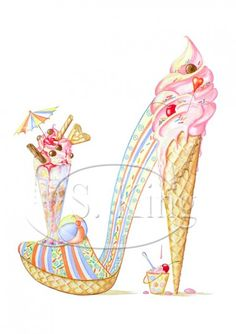 Lazy Sundae Canvas Art by Sally King Design Shoe Sketches, Fashion Sketches, Fashion Illustration Shoes, Shoe Illustration, Silhouette Mode, Fashion Art, Fashion Shoes, King Design, Flower Shoes