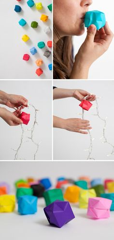 blow box party lights - transform a string of fairy lights with homemade lanterns!