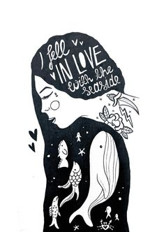 I fell in love with the seaside. I Fall In Love, Falling In Love, Illustration Artists, Got Print, Blackwork, Seaside, Ink, Black And White, The Originals