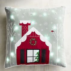 Why drive around your neighborhood to look at Christmas lights? With our Light-Up House Pillow, you'll enjoy holiday illumination from the comfort of your own sofa or armchair. Sprinkled with LEDs, it features a hidden zipper and a shapely poly insert.