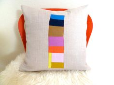 Linen Patchwork Pillow Cover Sham on Etsy