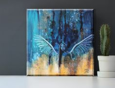 Original Engel Gemälde auf Leinwand 20x20 cm, Engel Bild abstrakt, Engel Acrylbild, Engel Wandbild, spirituelle Kunst von TerraSomniaAngels auf Etsy Angel Paintings, Acrylic Paintings, Original Paintings, Canvas Size, Abstract Art, Angels, Spirituality, Hand Painted, Display