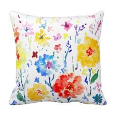 Watercolor Abstract poppy Pillow Cushion