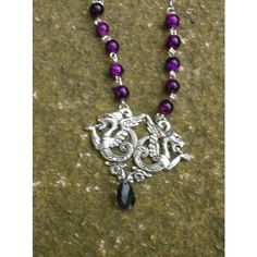 fantasy medieval dragon pendant, purple or black (110 DKK) ❤ liked on Polyvore featuring jewelry, pendants, purple teardrop pendant, chain pendants, bead pendant, beads jewellery and teardrop pendant