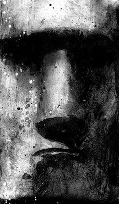"""""""Elle avait cette bonhomie exaspérante de ceux qui pensent, par tradition familiale ou faiblesse d'esprit, que la vie est simple pour peu qu'on sache la prendre du bon côté..."""" Blast - Manu Larcenet Illustrations, Illustration Art, Bd Art, Tiki Art, Charcoal Art, Bd Comics, Easter Island, Art For Art Sake, Reference Images"""
