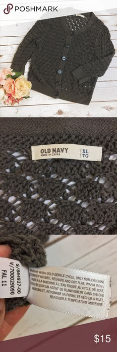 "Old Navy | Gray Knit Cardigan Size XL ⚪️All items are inspected for imperfections and damage ⚪️Any flaws will be photographed and documented in item description, please read before purchasing!  🌺🌱HAPPY POSHING!🌱🌺  Great used condition! No holes, stains, or pilling. Approximate measurements (taken with garment lying flat) pit to pit: 19""  Length: 20"" Old Navy Sweaters Cardigans"