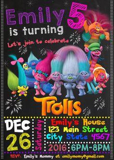 Trol de invitación de cumpleaños invitación de Trolls Trolls by HappyColorsDesign   Etsy