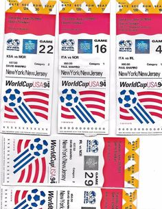 FIFA 1994 World Cup USA June18. 23,25,28,July, 1994  Ticket Stubs USED  | eBay