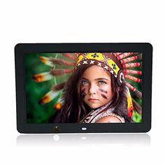 Celendi 12 inch 1280800 Hi-Res Ultra-thin Digital Photo Frame MP3 Video Player with Motion Sensor & 8GB Memory Card (Black)