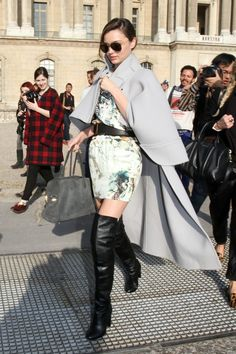 MIRANDA KERR STREET STYLE FASHION Over the knee boots leather black boots