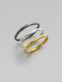 GURHAN - 24K Yellow Gold & Sterling Silver Ring Set