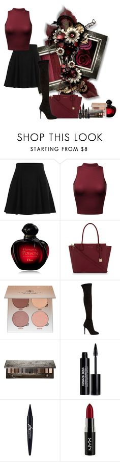 """""""A day to slay"""" by arisa-nightingale ❤ liked on Polyvore featuring River Island, Christian Dior, MICHAEL Michael Kors, Anastasia Beverly Hills, Jimmy Choo, Urban Decay, Edward Bess, Maybelline and NYX"""