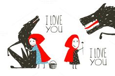 Little Red Riding Hood Loves Wolf by Popmarleo Shop on Creative Market