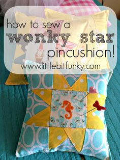 Little Bit Funky: crafty things. This is a cute pin cushion, but it would be so easy to make the pieces larger and make a really cute throw pillow!