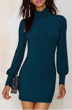 Teal Fall 2015 Color Trend! Love this Dress Design! Sexy Teal Blue Turtleneck Long Sleeve Pure Color Knitted Women's Dress #Sexy #BodyCon #Teal #Blue #Turtleneck #Midi_Dress #Fall #Color #Trends
