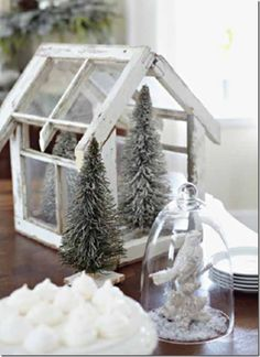these wonderful little trees, love the bird with snow under glass