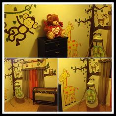 Jungle theme nursery wall decor #Jungle #monkey #zoo #animals #baby #room #giraffe