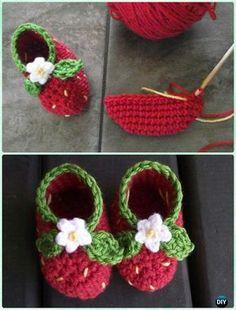 Crochet For Babies Crochet Strawberry Baby Booties Free Pattern - Crochet Baby Blanket Beginner, Baby Girl Crochet, Crochet Baby Shoes, Crochet Baby Clothes, Crochet Slippers, Cute Crochet, Crochet For Kids, Baby Knitting, Knitted Baby